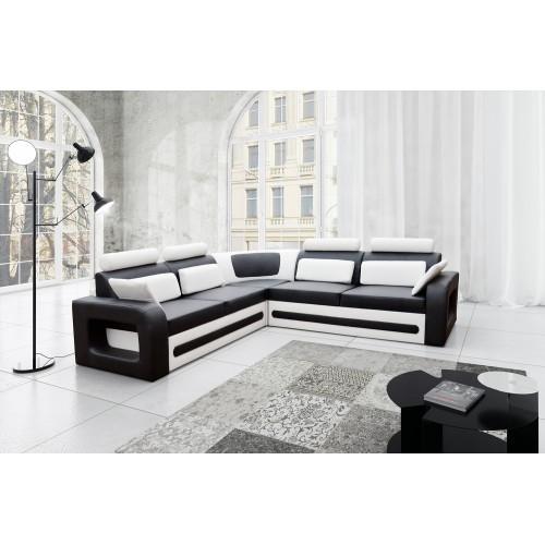 BERGAMO, Model: BE01, fabric: eco leather Soft 011 (black) + Soft 017 (white), right side