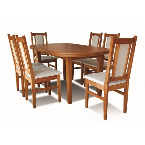 OVAL TABLE AND CHAIRS SET NO. 4, colour alder